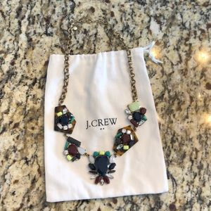 J. Crew statement necklace leopard gems blue green